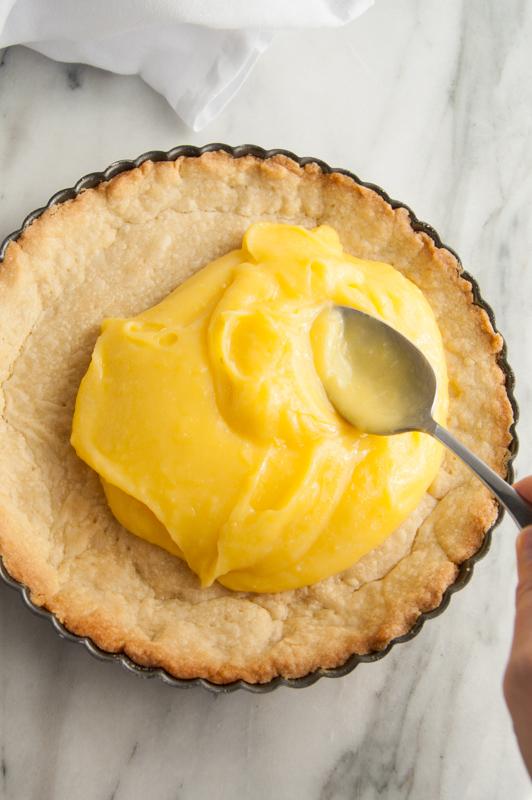 Spreading Lemon Curd into Pie Crust
