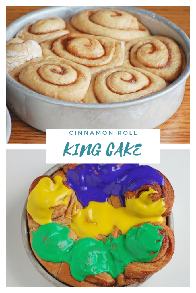 Mardi Gras King cake made with cinnamon rolls