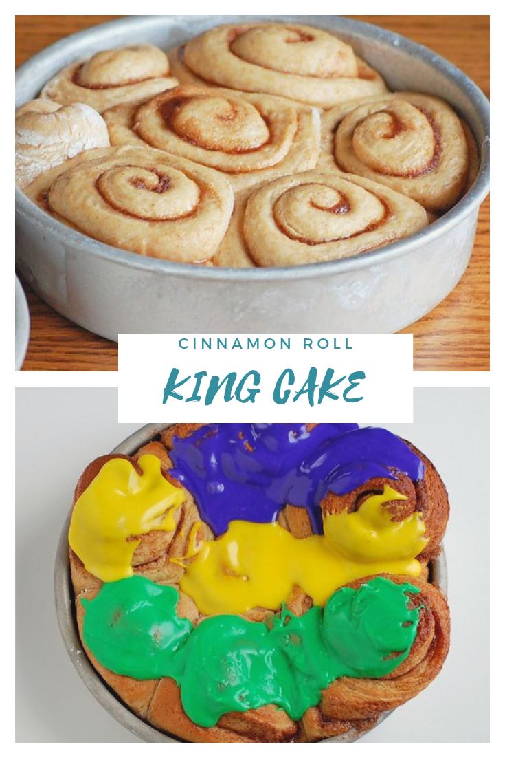 Mardi Gras King cake made with cinnamon rolls