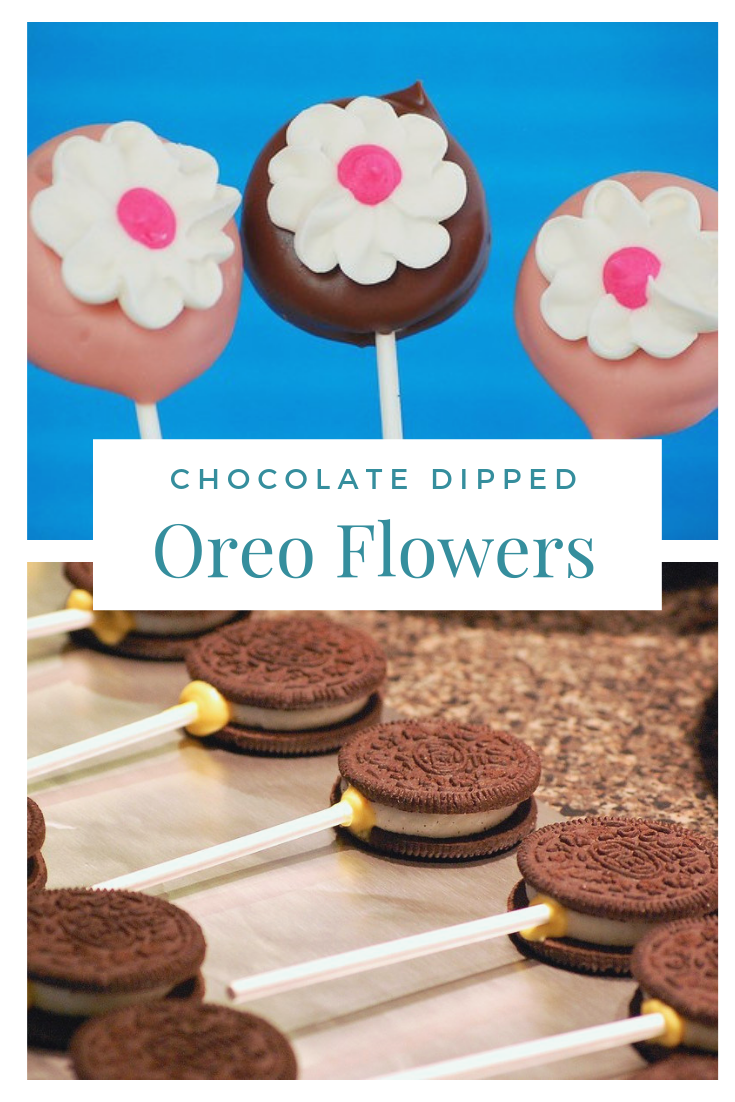 Chocolate dipped oreo flowers