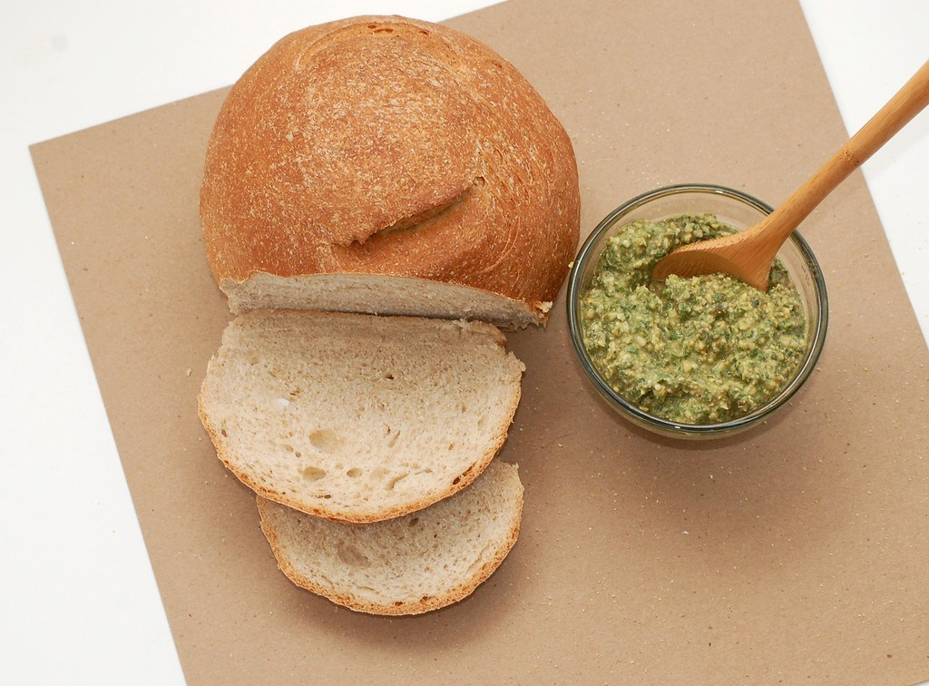 soft Italian bread with walnut pesto