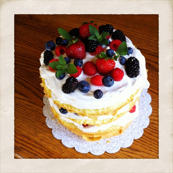 berry and cream cake
