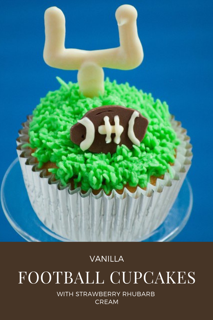 Vanilla football cupcakes with strawberry rhubarb cream