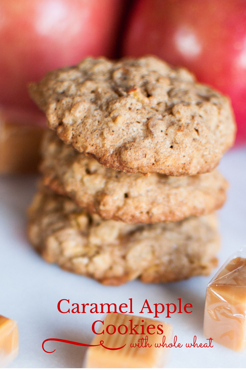 whole wheat caramel apple cookie