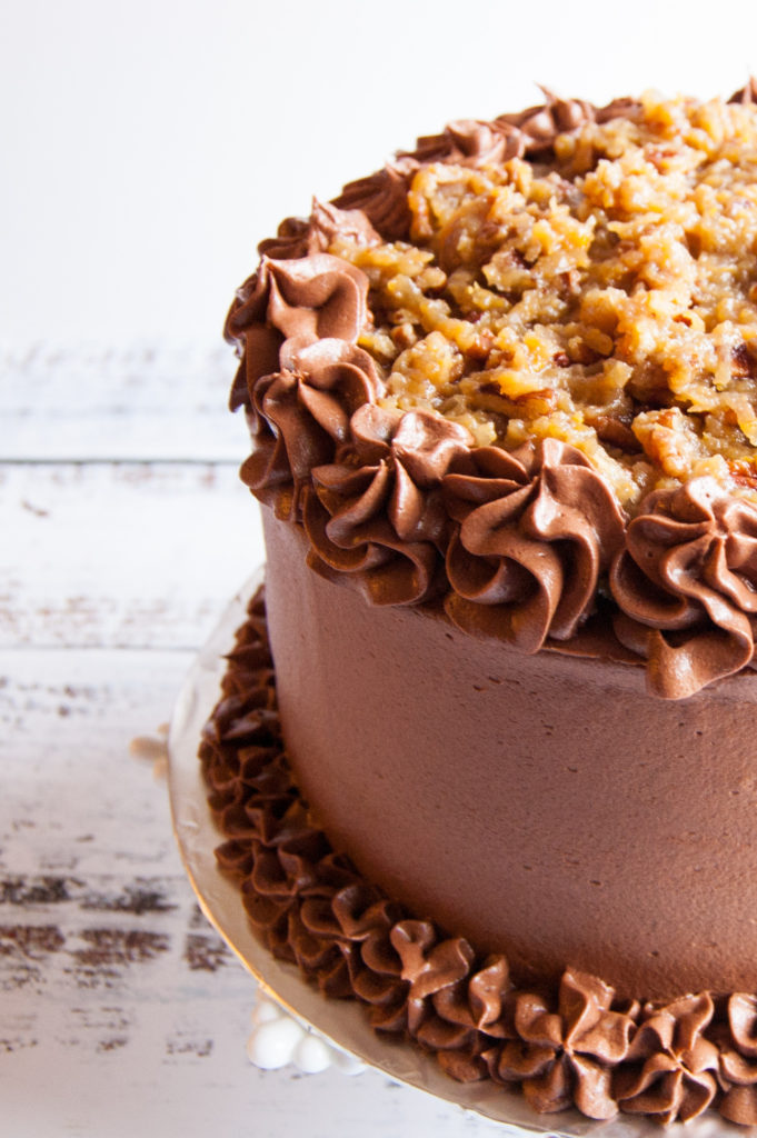 mayonnaise cake with chocolate buttercream and German Chocolate frosting