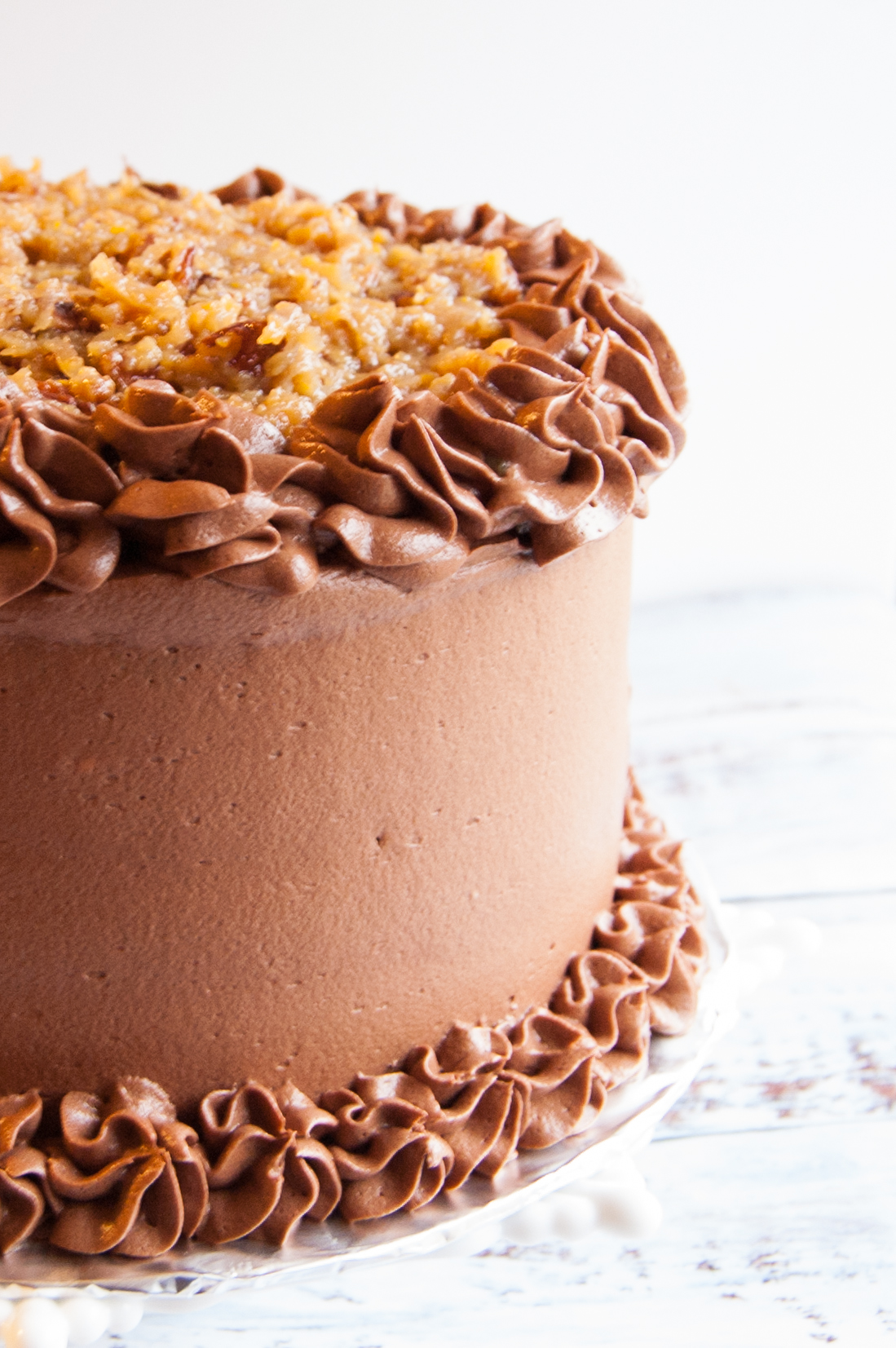 Chocolate cake with chocolate buttercream and German Chocolate frosting