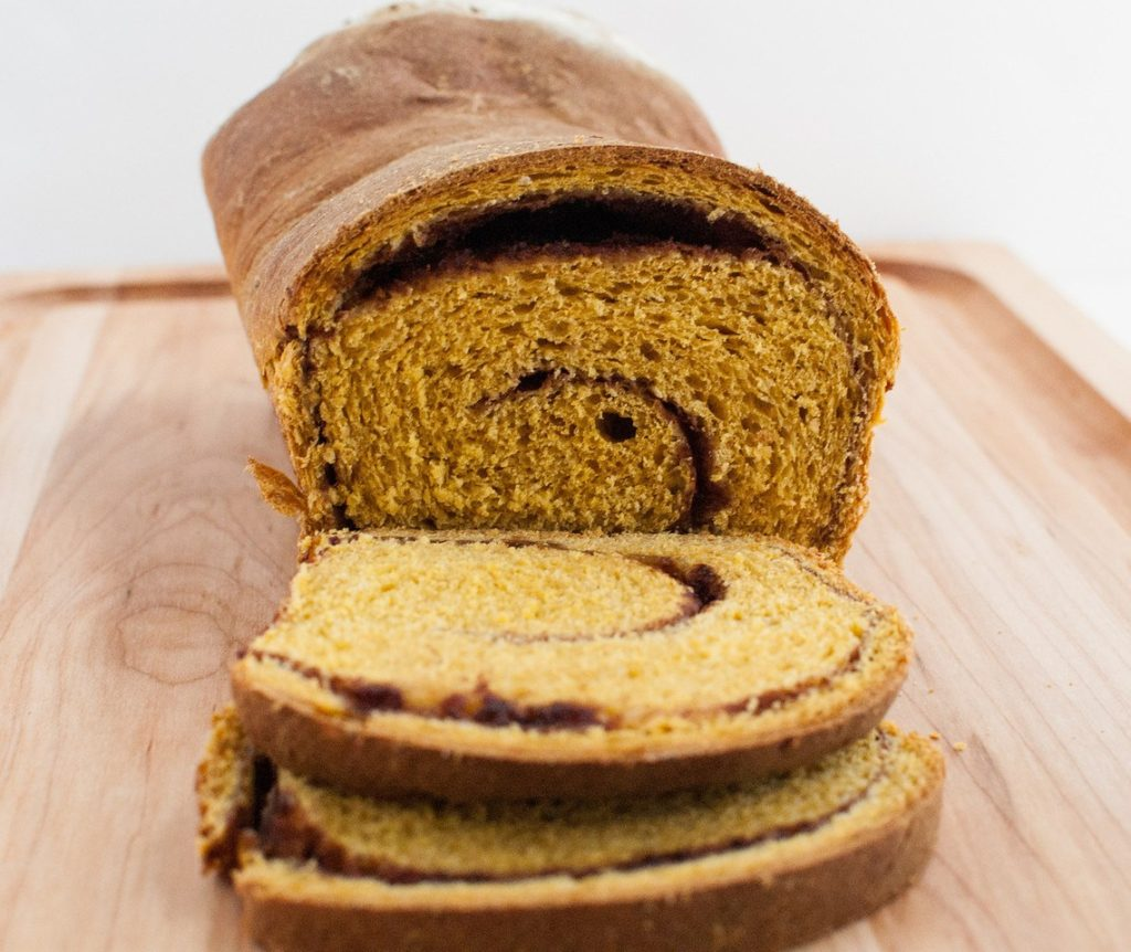 Loaf of cinnamon pumpkin swirl bread