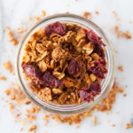 Healthy homemade granola made with no refined sugars.