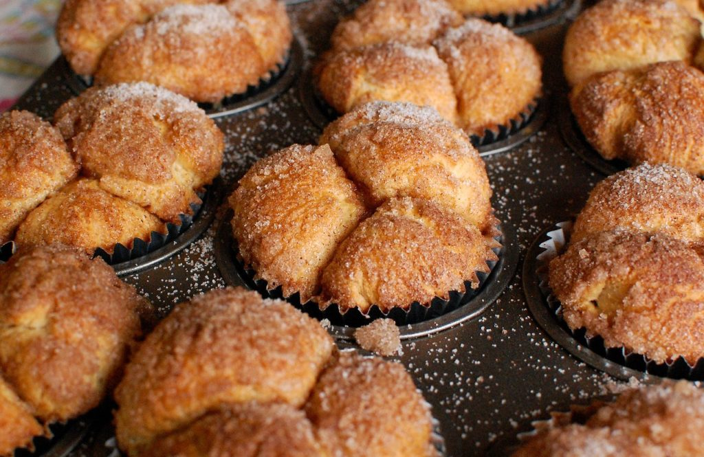 Pan of fluffy sugary monkey muffins