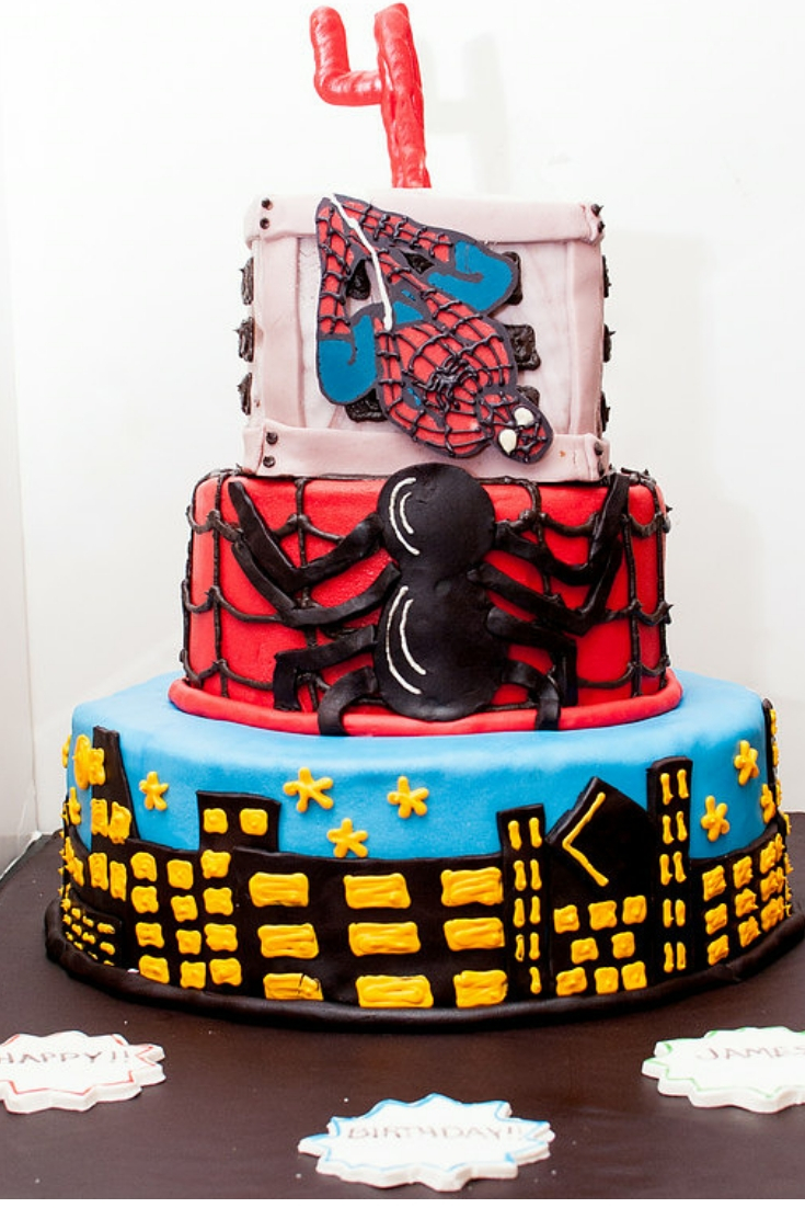 3 Tier Spiderman birthday cake