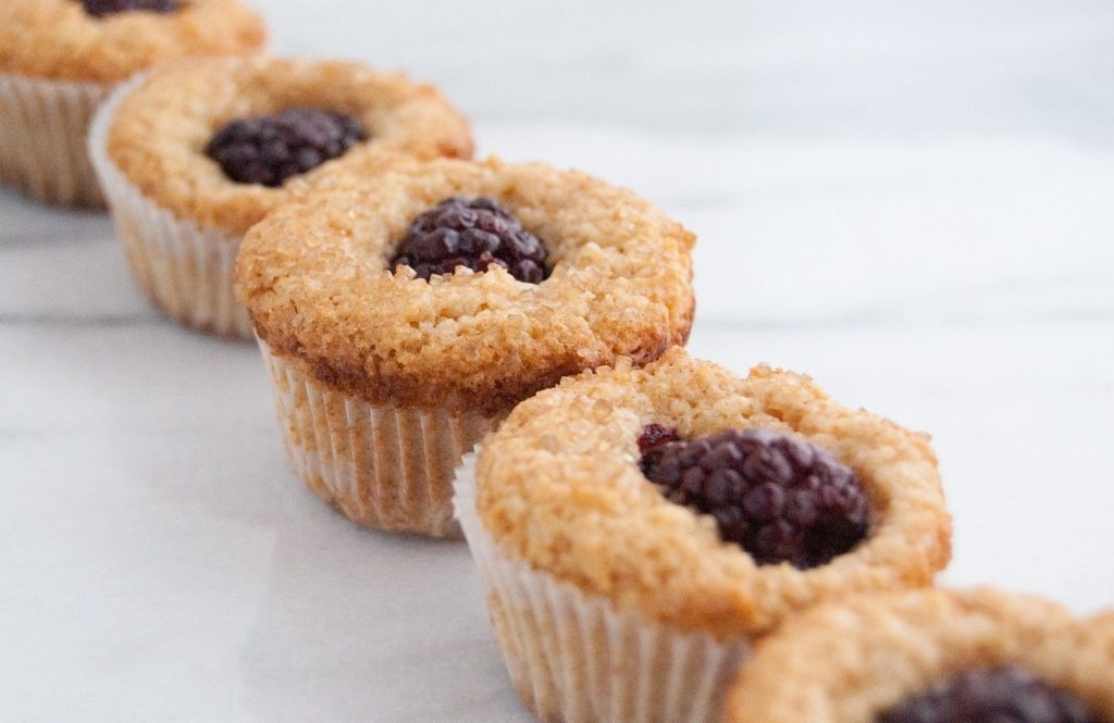 Whole wheat blackberry mini muffins