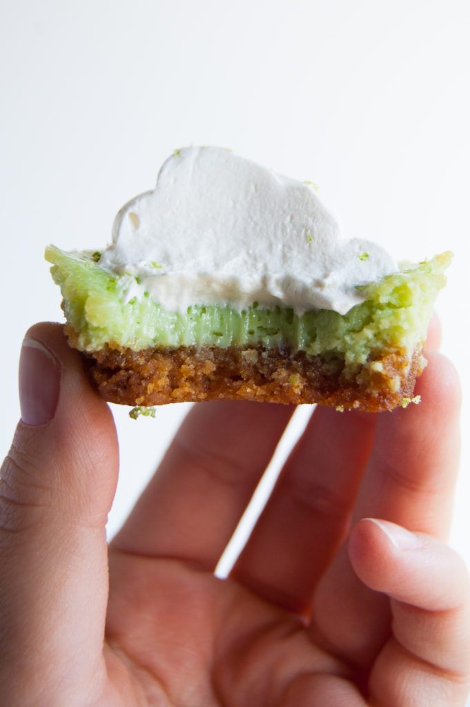 mini key lime pie with a bite taken out