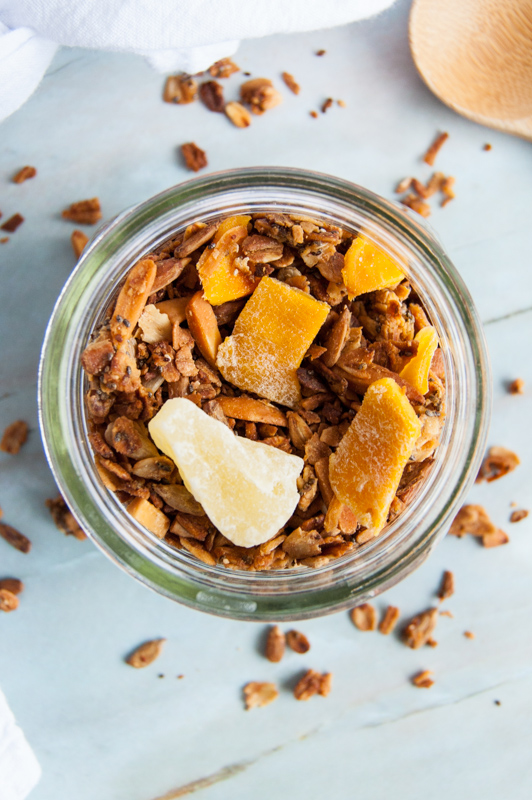 homemade granola with mango and coconut
