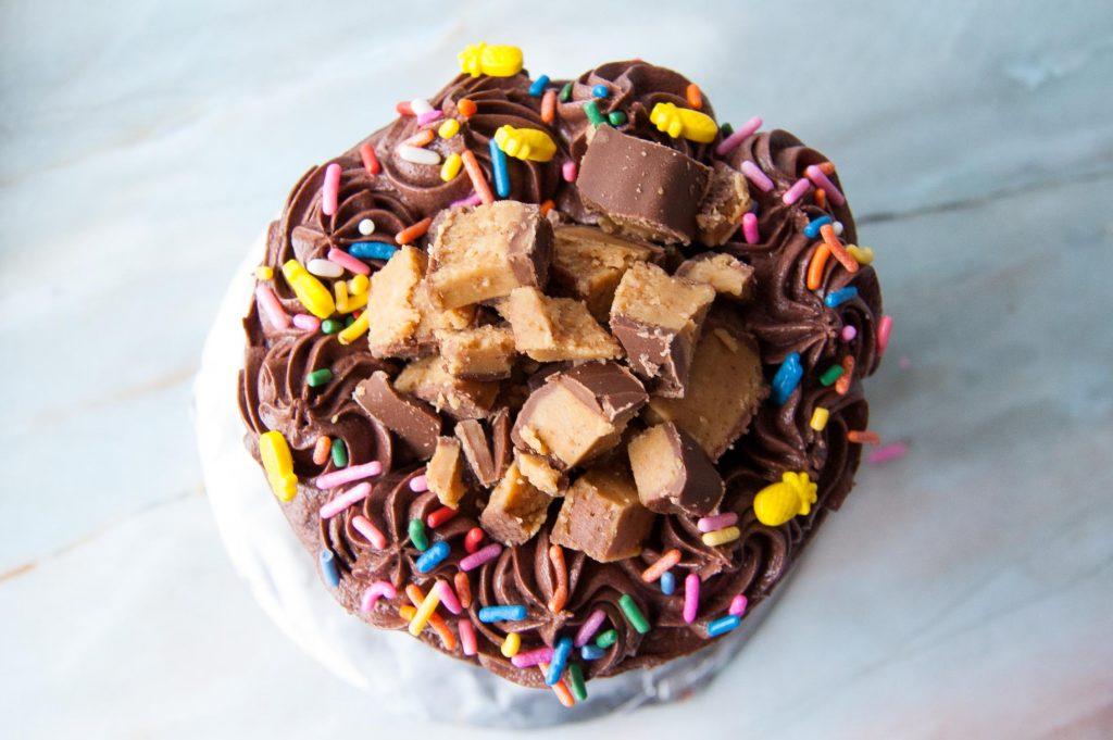 half a cake mix cake