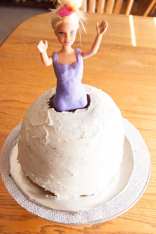 crumb coat on barbie doll cake
