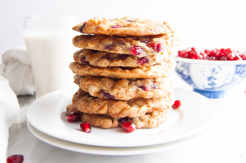 browned butter white chocolate pomegranate cookies