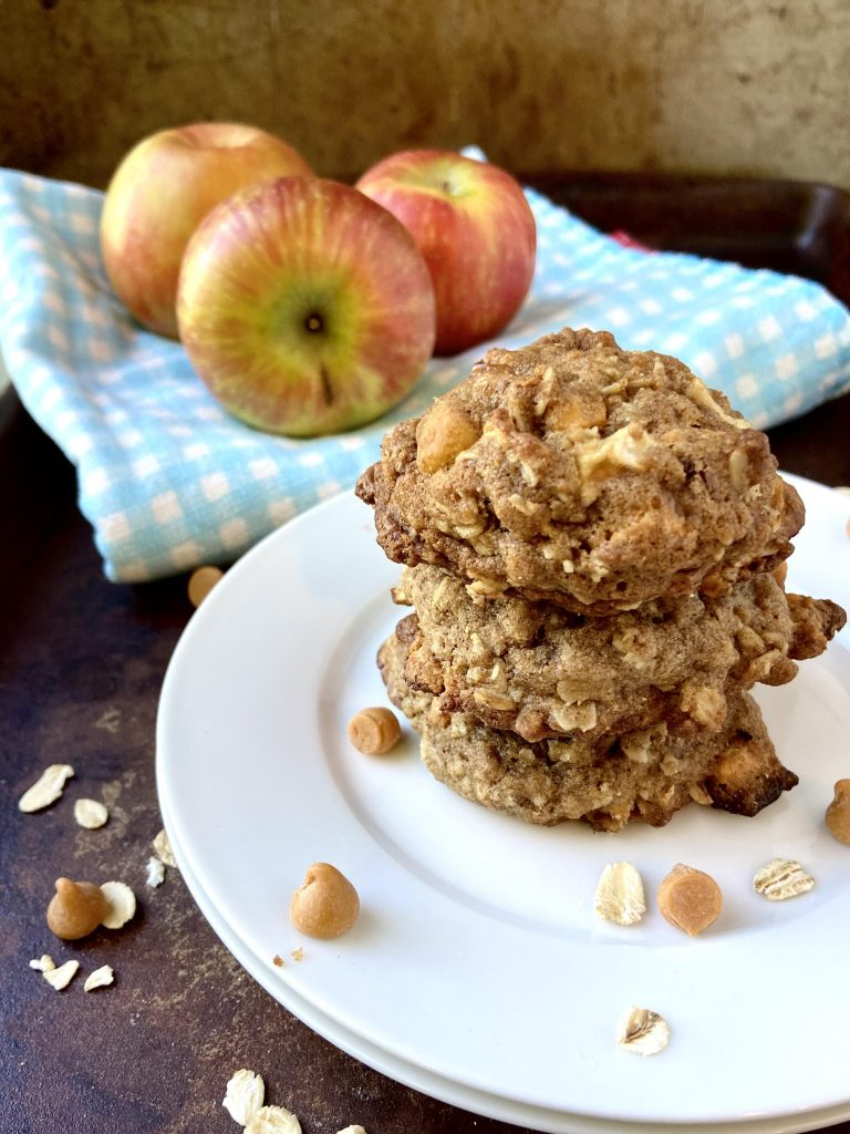 stack of apple butterscotch oatmeal cookies